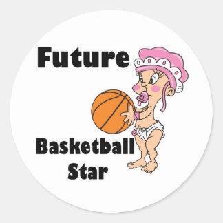 niña futura de la estrella del baloncesto pegatina redonda
