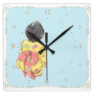 Niña japonesa del KIMONO de YUKATA Relojes De Pared