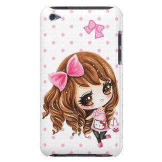 Niña linda con el arco rosado grande barely there iPod protectores