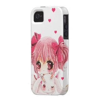 Niña linda con el conejito del kawaii vibe iPhone 4 funda