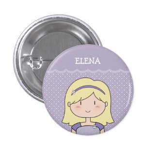 Niña linda con el nombre (personalizable) --PÚRPUR Pin Redondo 2,5 Cm