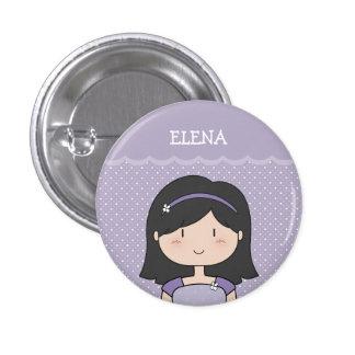 Niña linda con el nombre (personalizable) --PÚRPUR Pin Redondo De 1 Pulgada
