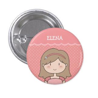Niña linda con el nombre (personalizable) -- ROSA Pin Redondo 2,5 Cm