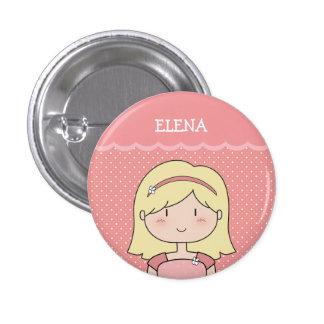 Niña linda con el nombre (personalizable) -- ROSA Pin Redondo De 1 Pulgada
