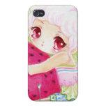 Niña linda con la fresa iPhone 4 cárcasas