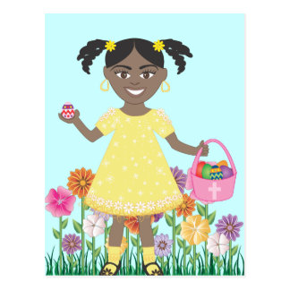 niña linda con los huevos y la cesta de Pascua Tarjeta Postal
