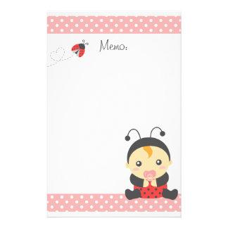 Niña linda de la mariquita, palabras para la mamá personalized stationery