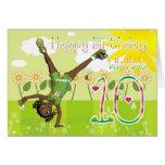 Niña linda de la tarjeta del feliz cumpleaños
