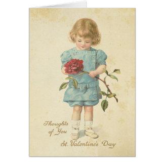 Niña linda del rosa rojo del el día de San Valentí Tarjeta De Felicitación