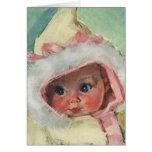 Niña linda del vintage que lleva un falso abrigo tarjeta de felicitación