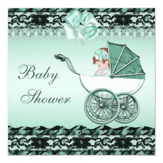 Niña linda en fiesta de bienvenida al bebé verde invitaciones personales