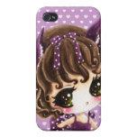 Niña linda en vestido púrpura de los lunares iPhone 4 carcasa