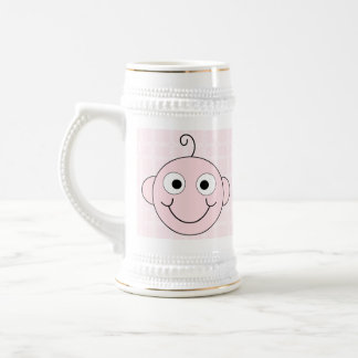 Niña linda. Fondo rosado del control Taza De Café