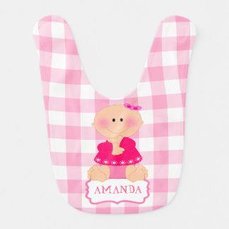niña, monograma, rosa, cuadrados baberos de bebé