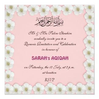 """Niña musulmán Aqiqah Invitación 5.25"""" X 5.25"""""""