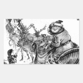 Niña, navidad 1918 del reno de Papá Noel Pegatina Rectangular