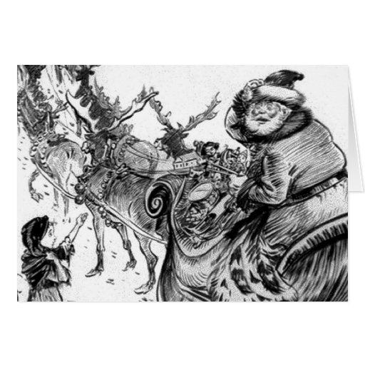 Niña, navidad 1918 del reno de Papá Noel Tarjeta De Felicitación