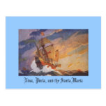 Nina, Pinta, and the Santa Maria Postcard