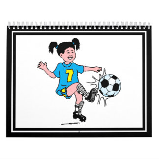Niña que juega a fútbol calendario de pared