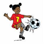 Niña que juega a fútbol escultura fotográfica