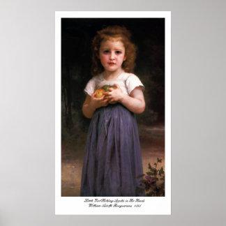 Niña que sostiene manzanas en sus manos póster