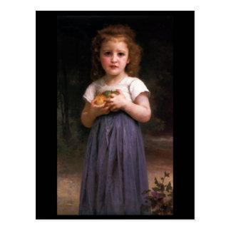 Niña que sostiene manzanas en sus manos tarjetas postales