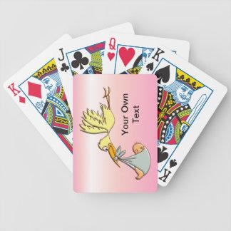 Niña recién nacida - una entrega de la cigüeña del baraja de cartas