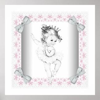 Niña rosada adorable de la bailarina del vintage póster