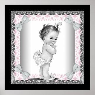 Niña rosada adorable del vintage posters