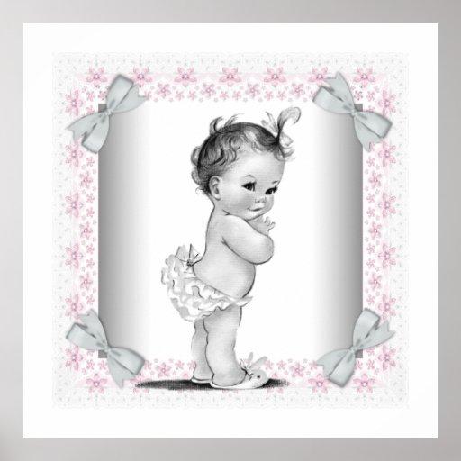 Niña rosada adorable del vintage póster
