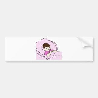 niña rosada pegatina de parachoque