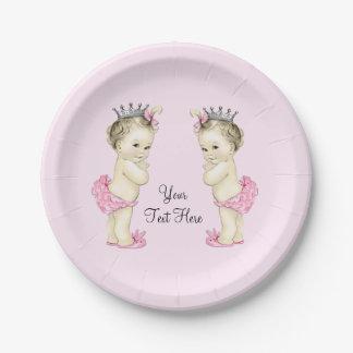 Niña rosada de princesa Twin Plato De Papel De 7 Pulgadas