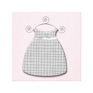 Niña rosada y gris del vestido caprichoso impresión en lona