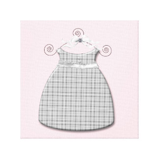 Niña rosada y gris del vestido caprichoso impresiones de lienzo