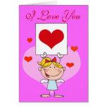 "Niña ""te amo"" tarjeta"