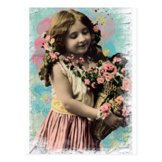 Niña y flores del vintage tarjeta postal