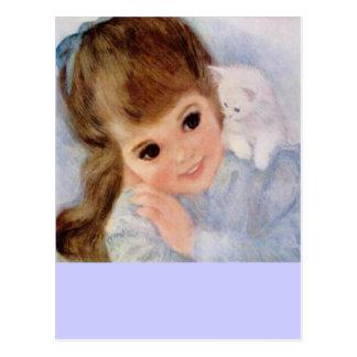 Niña y gatito lindos tarjeta postal