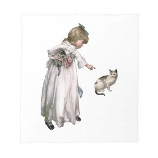 Niña y gato del ~ del ejemplo del vintage libretas para notas