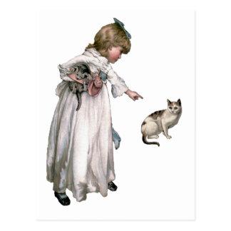 Niña y gato del ~ del ejemplo del vintage postal
