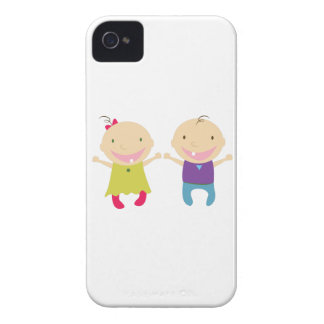 Niña y muchacho iPhone 4 funda