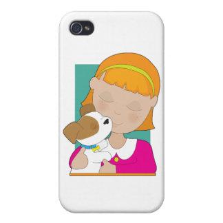 Niña y perrito iPhone 4/4S carcasas