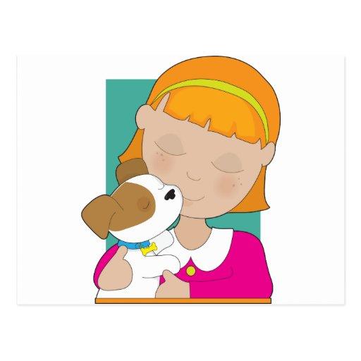 Niña y perrito postales