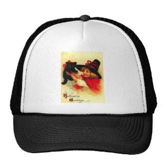 Niña y su gato negro gorras de camionero
