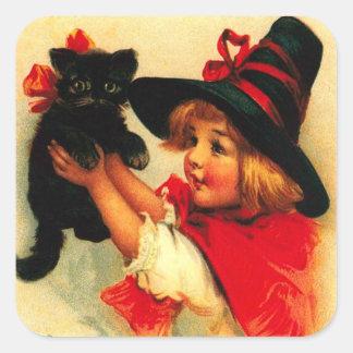 Niña y su gato negro pegatina cuadrada