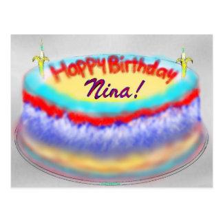 Nina's birthday cake post card postcard