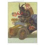 Niñas de Krampus Obducting en coche Felicitación