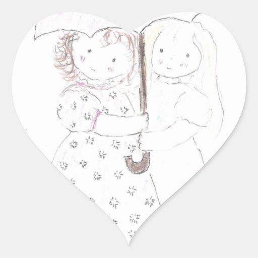 Niñas debajo del paraguas pegatina en forma de corazón