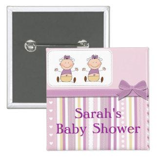 Niñas y fiesta de bienvenida al bebé gemelas de pin cuadrado