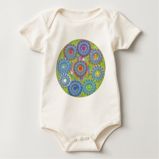 Nine 3D Blue Stars - Color Dot in Center Baby Bodysuit