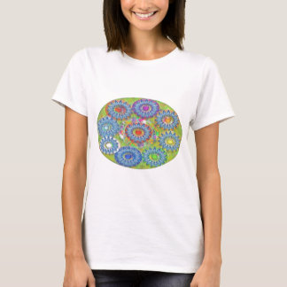 Nine 3D Blue Stars - Color Dot in Center T-Shirt